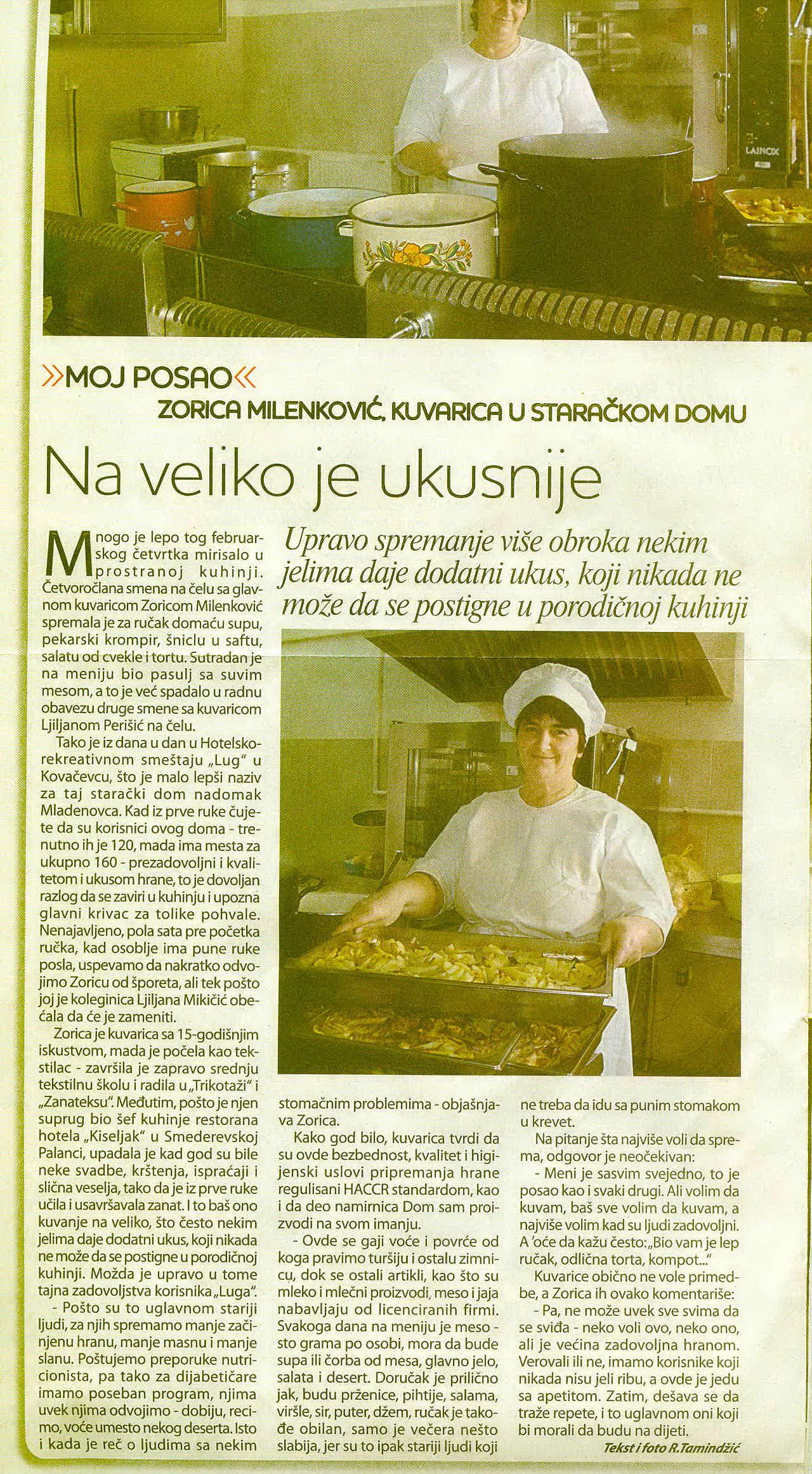 Opis kuhinje i jelovnika Doma za Stare - Nedeljni dodatak Blic-a